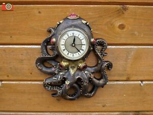 """OCTOCLOCK"" Steampunk Theme Octopus Gothic Clock Kraken. Nemesis Now. Great Gift"