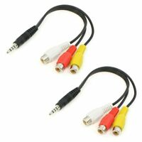 2pcs 3 RCA Female Audio/Video Connector to 3.5mm Jack Adapter Cable F4M7