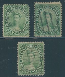 Canada Stamps 1859 12 1/2¢ Queen Victoria Used 3 Different Shades Scott # 18