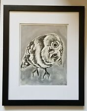 Change of Perspective-Original Goauche Painting of a Baby Owl