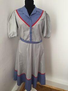 BLOCH Design danish vintage dress blue gray midi flared Sz 40 M/L