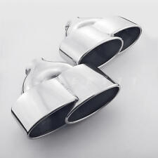 """Pair 2.4"""" inlet Porsche 997 C2/S/4S/GTS Style Oval Stainless Steel Exhaust Tips"""