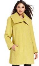Women's ALFANI Boucle Car Coat Jacket Chartreuse Green Wool Blends Long Sz XS