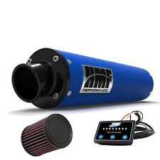 HMF Performance Slip On Exhaust Blue Black End Cap EFI Optimizer K&N LTZ 400