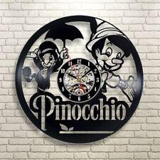 Pinocchio Vinyl Record Wall Art Clock Cartoon Children Room Decor Unique Design