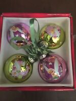 Disney Tinkerbell Mercury Glass Christmas Tree Ornaments With Box Set of 4