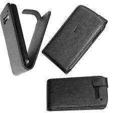 custodia eco pelle nera + pellicola LCD per ALCATEL POP C5 one touch flip case