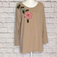 Soft Surroundings Tunic Womens Large Taupe Long Sleeve Pullover Appliqued Flower