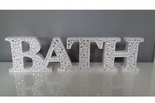 ❤️ WHITE WOODEN BATH DIAMONTE SIGN PLAQUE WORD ornament bathroom freestanding