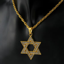 "Men's Hip Hop Gold Plated ICE Out Star of David Pendant 28"" Chain Necklace Gifts"