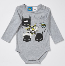 Baby 0 Batman 2 Set Bodysuit & Bib Soft Cotton Long Sleeve Romper Grey Blue Bib