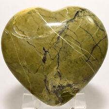 68mm Natural Green Serpentine w/ Pyrite Puffy Heart Crystal Stone Mineral - Peru