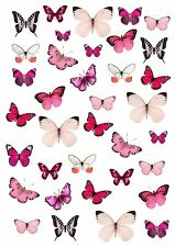 Pretty PINK BUTTERFLY Wafer Rice Paper Cupcake Toppers EDIBLE CAKE Butterflies
