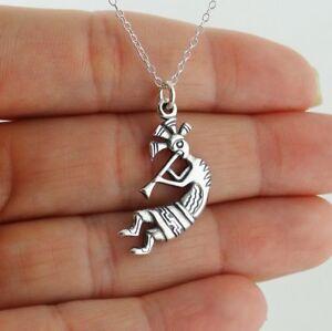 Kokopelli Pendant Necklace - 925 Sterling Silver - Dancing Flute Music Fertility