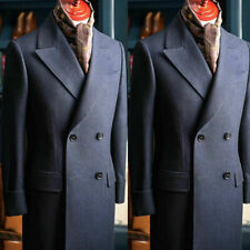 Navy Blue Long Overcoat Men Suits Wool Double Breasted Wide Peaked Lapel Tuxedos
