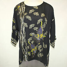 NEW NWT Citron Clothing Fall Winter Plus Size 100% Silk Butterflies Tunic Top 1X