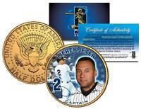 DEREK JETER * Captain * 24K Gold Plated Coin US Colorized JFK Half Dollar YANKEE
