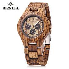 BEWELL Men's Wooden Wood Japan Quartz Watch Date Day Display Luminous Wristwatch