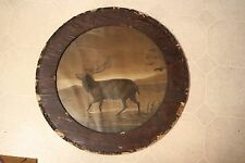 """Antique 19th C Charcoal Drawing ELK For Restoration Circular 20""""Wavy Glass Frame"""