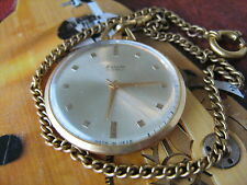 Raketa 20 microns gold plated Soviet pocket watch and chain