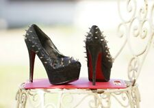 ladies black spikey high heels uk size 5