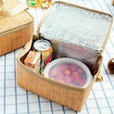 MiCASA- Wicker Picnic Basket- Outdoor Lunch Box Vintage Wine Beach BBQ Travel