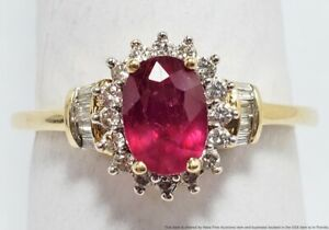 Solid Yellow Gold Natural Oval Cut Ruby Genuine Fine Diamond Ladies Fashion Ring