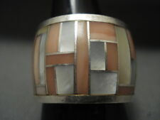ONE OF THE WIDEST EVER VINTAGE ZUNI/ NAVAJO INLAY PEARL SILVER RING