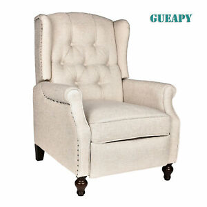 Wingback Recliner Chair Accent Chair Push Back for Living Room, Massage and Heat