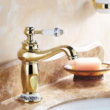 Gold Polished Bathroom Sink Vessel Faucet Single Hole Handle Basin Mixer Tap