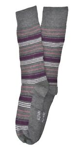 Macy's Alfani Alfatech Men's Striped Printed Socks One Pair Grey Purple Striped