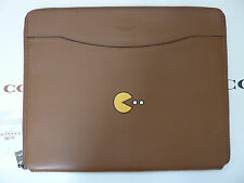 NWT Coach PAC-MAN Leather Tech / IPad Case F56058 Saddle *Limited Edition*