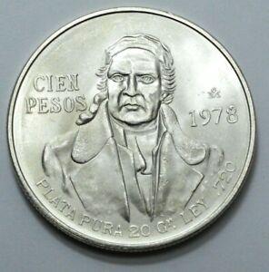 1978 UNC MEXICO CIEN 100 PESOS PLATA PURA LEY .720 SILVER Large COIN, UNGRADED