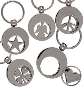 Metall Trolley Münze Schlüsselring 5 Designs Herz Engel Kleeblatt Stern Peace