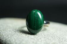 Malachite Natural Gemstone Solid Fine 925 Sterling Silver Ring Size 8