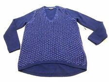 Tommy Hilfiger Womens Size M Blue & Metallic Blue Weave See Through Sweater New