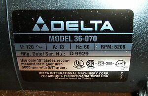 "NOS Delta 10"" Compound Miter Saw (CMS) Motor fits 36-070 saw, p/n 1347132"