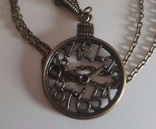 "Bronze Clock Pendant Necklace 20"" Chain With Slider/Bail Bead + Gift Bag"