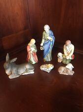 6 Pcs Goebel Sacrart Hummel Nativity-Mary,Joseph,BabyJesus,Shepard,Lamb & Donkey