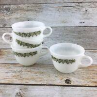 VINTAGE PYREX Milk Glass Crazy Daisy Spring Blossom Coffee Cup Mug Green Set 4