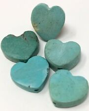 5 Vintage Hand Carved Turquoise Fetish HEART SHAPED PENDANTS BEADS