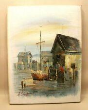 Belle Peinture toile tableau signé A Simpson 41 x 31 cm Cabanons bateau Pêcheur