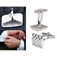 Gentle Mens Stainless Business Shirt Silver Square Lattice Wedding Cuffls U B3B7