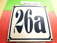 Hausnummer Nr. 26a dunkel-blaue Zahl weißer Hintergrund 14 cm x 14 cm Emaille