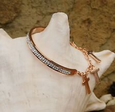 ION Plated Rose Gold Austrian Crystal Trilogy CROSS Cuff CHARM Bracelet 7.50""
