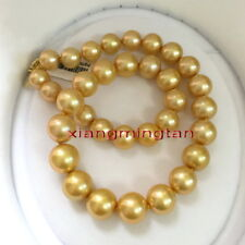 """AAAAA ROUND 18""""13-16mm Natural real south sea golden pearl necklace 14K gold"""