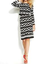INC Women's Printed Popover Long Sleeve Bodycon Dress  (Black/White, S)