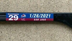 Colorado Avalanche Nathan MacKinnon Game Used 2021 SEASON 1-26-21 vs Sharks
