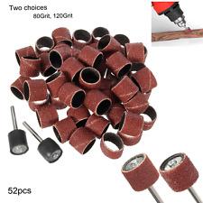 52Pcs 1/2'' Sanding Bands Sleeves Kits & 2 Drum Mandrels For Rotary Tools NEW