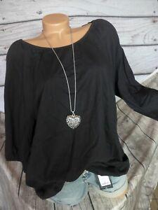 Sheego Women's Blouse Shirt Tunic 3/4 Sleeve Black (741) New